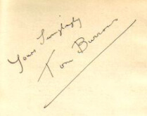Yours swingingly Tom Burrows - Australia - signature