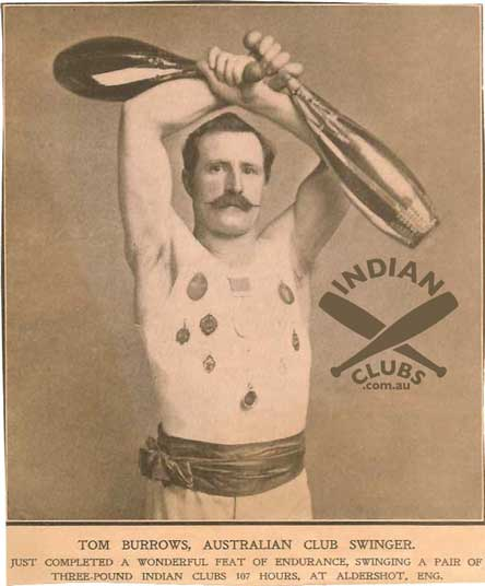 Tom Burrows at Aldershot, UK, where he completed a 107 hour non-stop endurance Indian Club swinging challenge.