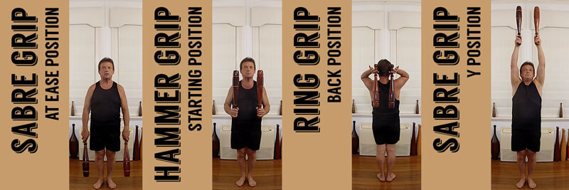 Indian Clubs Body Positions for each Grip