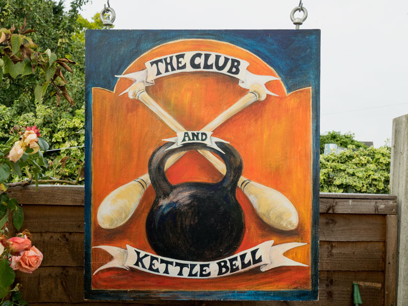 Barry Hutchings Club and Kettlebell Sign
