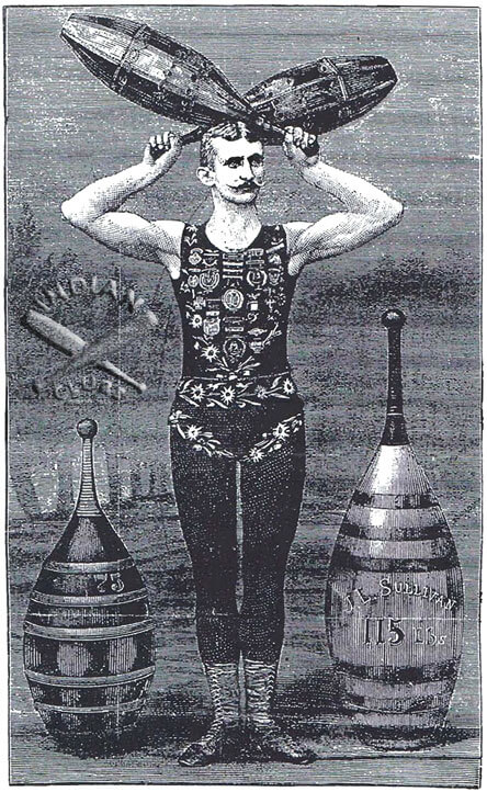 Gus Hill etching showing massive Indian Clubs featured in the New York NY National Police Gazette 1882-1883