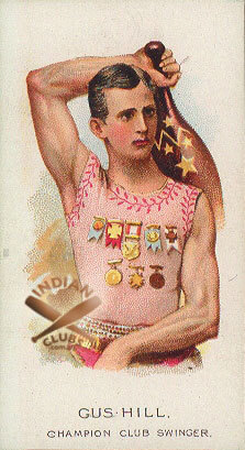 Gus Hill card with Indian Clubs and championship medals