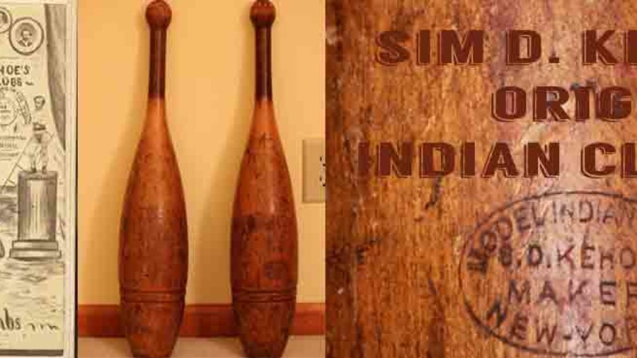 Vintage Sim D Kehoe Indian Clubs