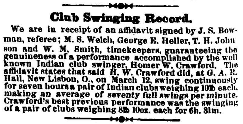 Homer W Crawford Club Swinging Record